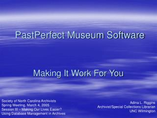 PastPerfect Museum Software
