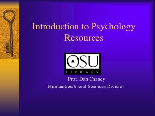 Introduction to Psychology Resources