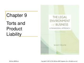 Chapter 9 Torts and Product Liability