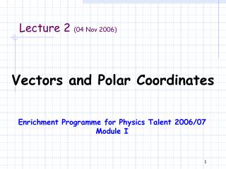 Vectors and Polar Coordinates