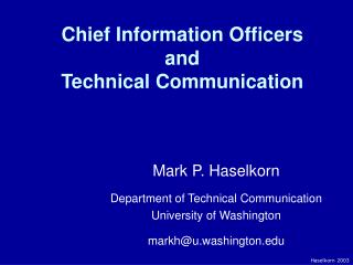 Chief Information Officers and Technical Communication