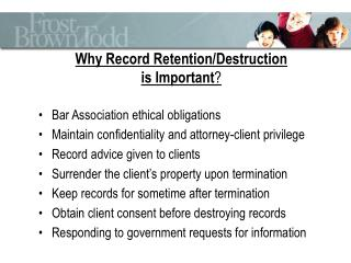 Why Record Retention/Destruction is Important ?