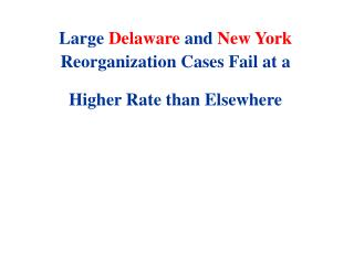 Large Delaware and New York Reorganization Cases Fail at a Higher Rate than Elsewhere