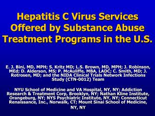 Hepatitis C Virus Services Offered by Substance Abuse Treatment Programs in the U.S.