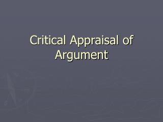 Critical Appraisal of Argument