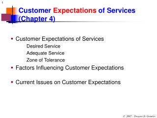 Customer  Expectations  of Services (Chapter 4)