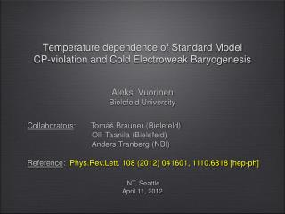 Temperature dependence of Standard Model  CP-violation and Cold Electroweak  Baryogenesis