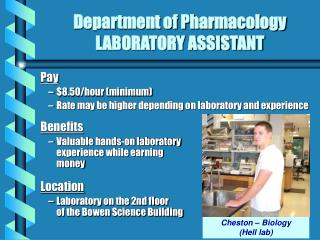 Department of Pharmacology LABORATORY ASSISTANT