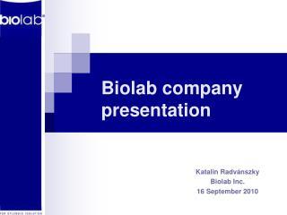 Biolab company presentation