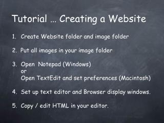 Tutorial … Creating a Website