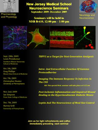 New Jersey Medical School Neuroscience Seminars September 2009- December 2009