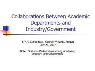 Collaborations Between Academic Departments and Industry/Government