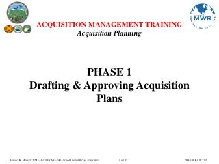 PHASE 1  Drafting & Approving Acquisition Plans