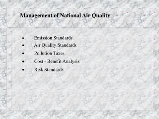 Management of National Air Quality