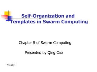 Self-Organization and    Templates in Swarm Computing