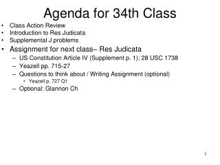 Agenda for 34th Class