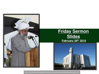 Friday Sermon Slides  February 26 th  2010