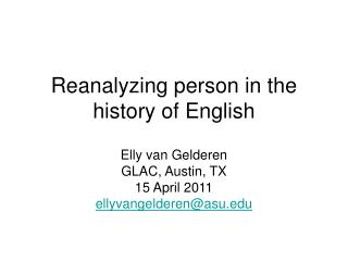 Reanalyzing person in the history of English