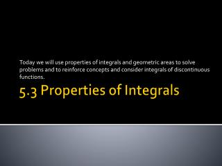 5.3 Properties of Integrals
