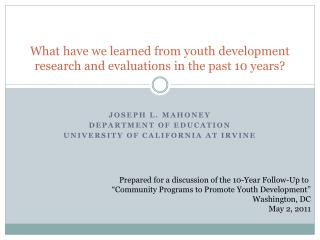 What have we learned from youth development research and evaluations in the past 10 years?
