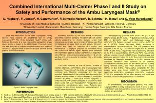 Combined International Multi-Center Phase I and II Study on Safety and Performance of the Ambu Laryngeal Mask ®