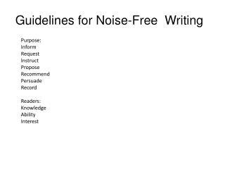 Guidelines for Noise-Free Writing