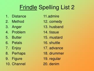 Frindle  Spelling List 2