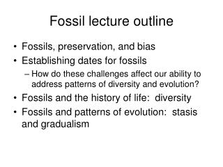 Fossil lecture outline