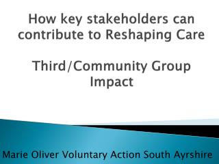 How key stakeholders can contribute to Reshaping Care Third/Community Group Impact
