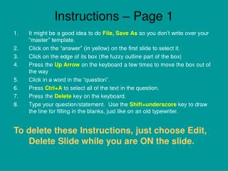 Instructions – Page 1