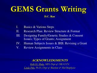 GEMS Grants Writing