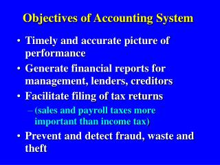 Objectives of Accounting System