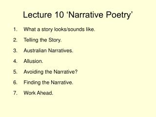 Lecture 10 'Narrative Poetry'