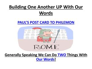 Building One Another UP With Our Words