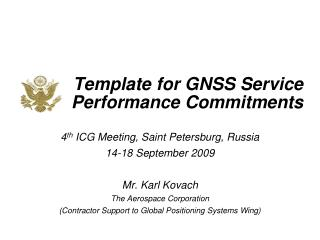 Template for GNSS Service Performance Commitments