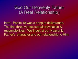 God Our Heavenly Father (A Real Relationship)