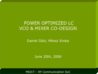 MSICT – RF Communication SoC
