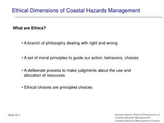 Ethical Dimensions of Coastal Hazards Management