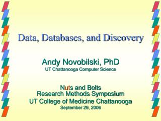 Data, Databases, and Discovery