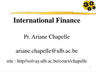 International Finance Pr. Ariane Chapelle ariane.chapelle@ulb.ac.be site : http//solvay.ulb.ac.be/cours/chapelle