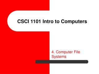 CSCI 1101 Intro to Computers