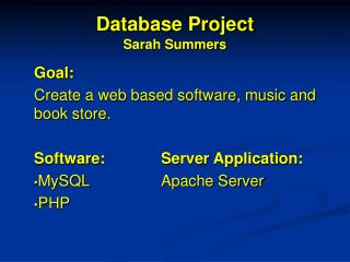 Database Project Sarah Summers