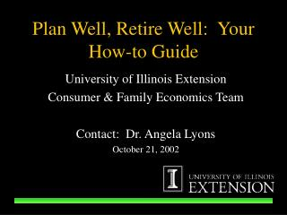 Plan Well, Retire Well:  Your How-to Guide