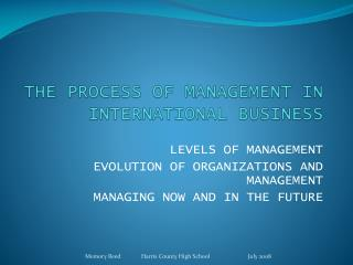 THE PROCESS OF MANAGEMENT IN INTERNATIONAL BUSINESS
