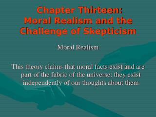 Chapter Thirteen: Moral Realism and the Challenge of Skepticism