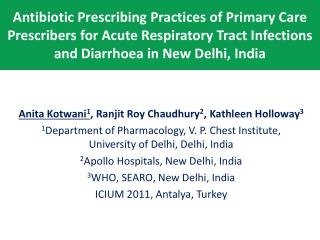 Antibiotic Prescribing Practices of Primary Care Prescribers for Acute Respiratory Tract Infections  and Diarrhoea in Ne