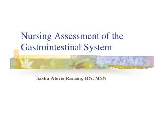 Nursing Assessment of the Gastrointestinal System