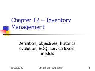 Chapter 12 – Inventory Management