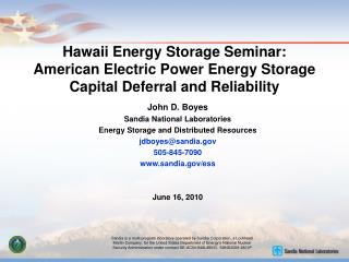 Hawaii Energy Storage Seminar: American Electric Power Energy Storage Capital Deferral and Reliability