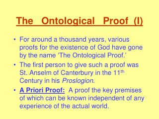 The   Ontological   Proof  (I)